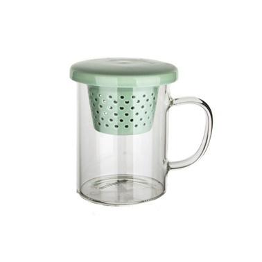 Ultraform Porselen Süzgeçli Kapaklı Düz Kupa Yeşil Yeşil